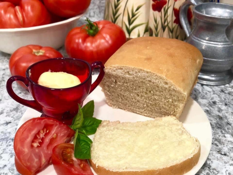 fresh garden tomatoes and homemade bread