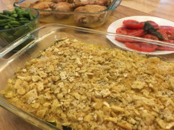 Zucchini casserole on table